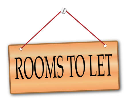 woodgrain: Rooms to Let plack in woodgrain with red string and screw