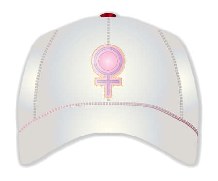 pink cap: A white typical baseball cap with the female sign over white