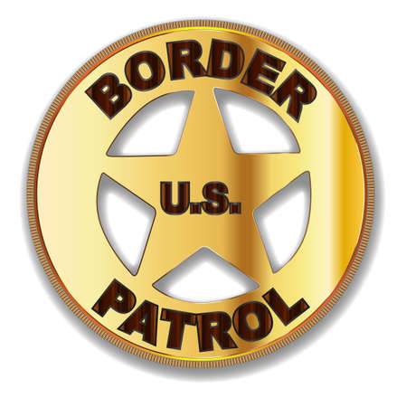 patrol: A typical Border Patrol Badge of the United Staes over a white background Illustration