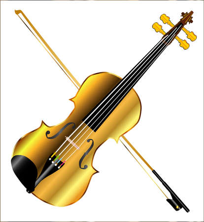 gut: A golden violin and bow isolated over a white background