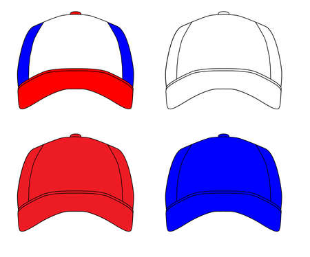 baseball caps: Red white and blue typical baseball caps