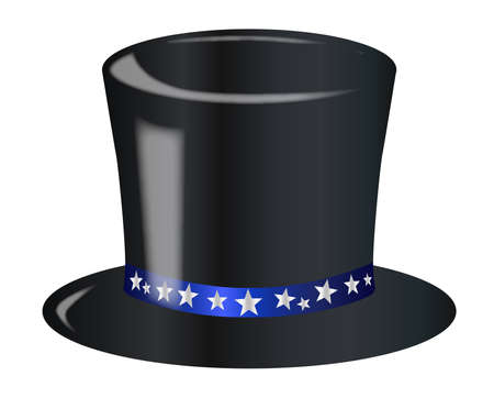 star spangled: A top hat with a star spangled blue ribbon over a white background