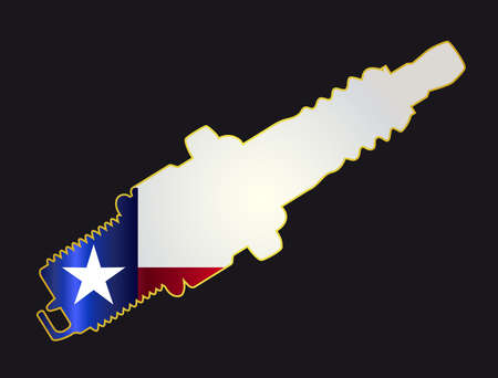 servicing: A red spark plug with the Texas flag icons in silhouette on a black background