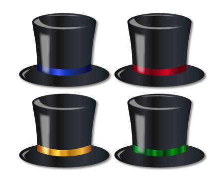 posh: A collection of 4 posh top hats over a white background