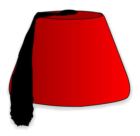 fez: A cartoon style red fez hat isolated on a white background