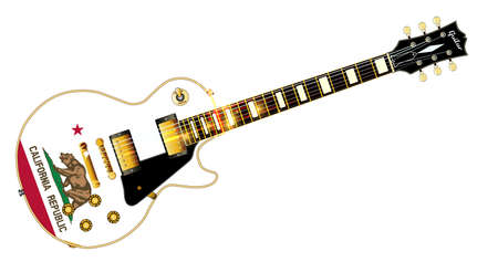 The definitive rock and roll guitar with the California State flag seal flag isolated over a white background.