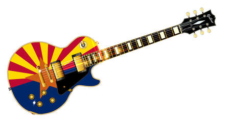 The definitive rock and roll guitar with the Arizona flag seal flag isolated over a white background.