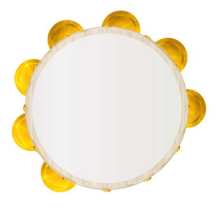 Un tipico tamburello musicale tradizionale incastonato su uno sfondo bianco