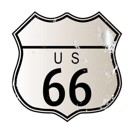 Blank Route 66 traffic sign over a white background and the legend ROUTE US 66 Illustration