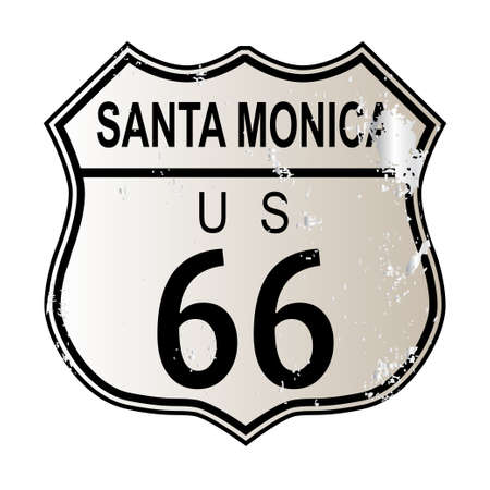 highway 6: Santa Monica Route 66 traffic sign over a white background and the legend ROUTE US 66