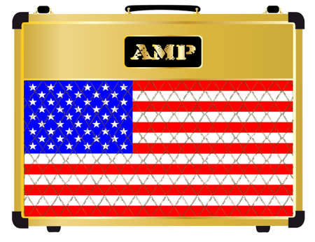stringed: A typical electric guitar combo valve amplifier with the Stars and Stripes flag Illustration
