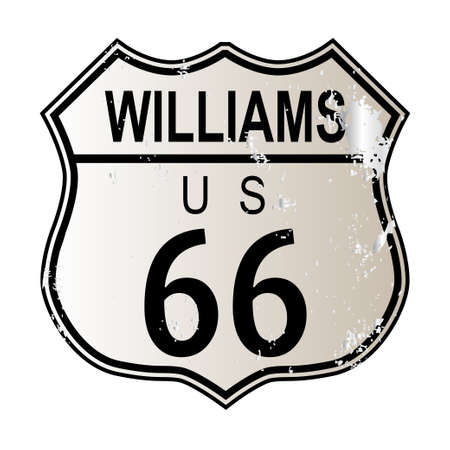 highway 6: Williams Route 66 traffic sign over a white background and the legend ROUTE US 66