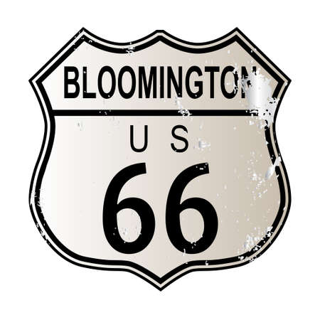 highway 6: Bloomington Route 66 traffic sign over a white background and the legend ROUTE US 66