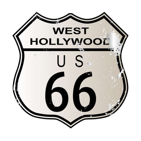 66: West Hollywood Route 66 traffic sign over a white background and the legend ROUTE US 66