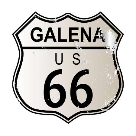 highway 6: Galena Route 66 traffic sign over a white background and the legend ROUTE US 66 Illustration