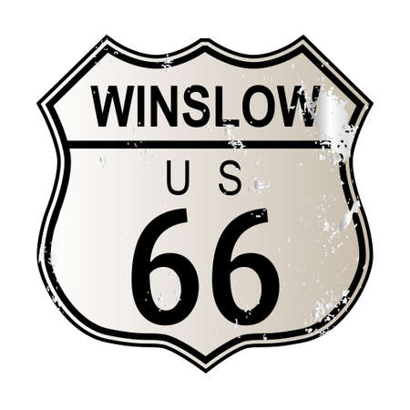 66: Winslow Route 66 traffic sign over a white background and the legend ROUTE US 66 Illustration
