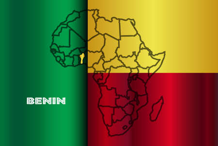 inset: Benin outline inset into a map of Africa over a flag background