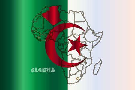 algeria: Algeria outline inset into a map of Africa over a Algeria flag background