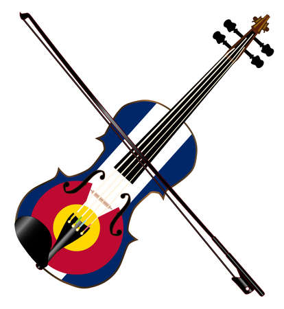 A typical violin with Colorado flag and bow isolated over a white background Illustration