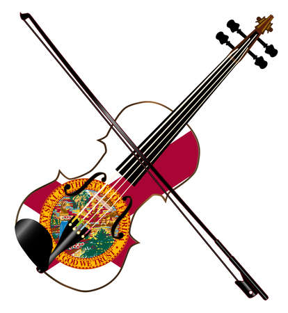 A typical violin with Florida flag and bow isolated over a white background Illustration