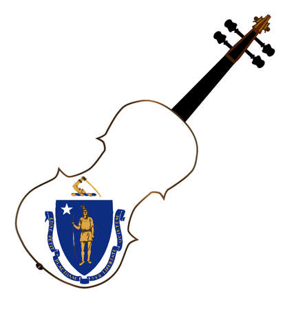 fiddles: A typical violin with Massachusetts state flag isolated over a white background Illustration