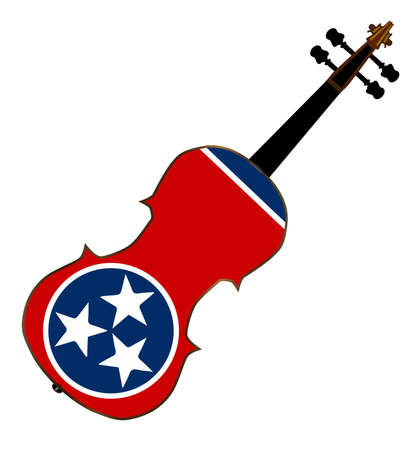 fiddles: A typical violin with Tennessee state flag isolated over a white background Illustration