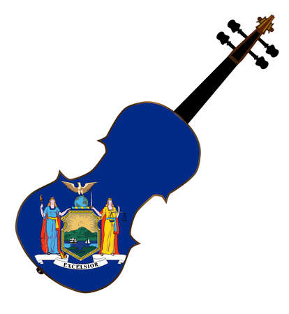 fiddles: A typical violin with New York state flag isolated over a white background