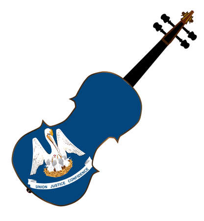 louisiana flag: A typical violin with Louisiana state flag isolated over a white background