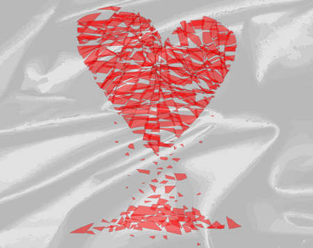 shattered: A shattered heart over a silk background