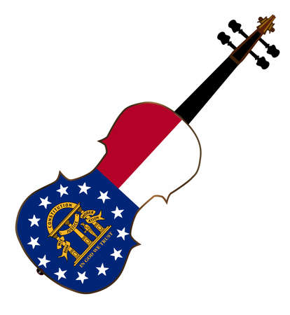 fiddles: A typical violin with Georgia state flag isolated over a white background