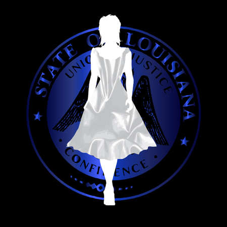 queen silhouette: Cajun Queen silhouette walking out in a silk dress over the Loisiana seal