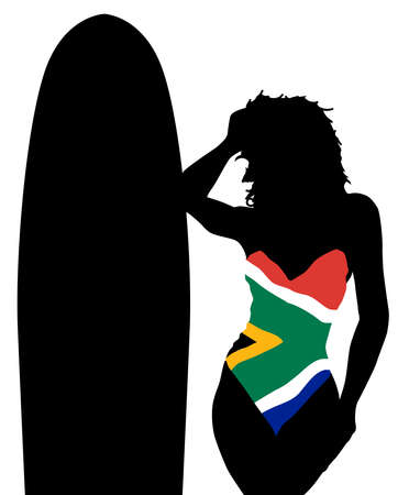 south african flag: A girl with a surfboard and South African flag whimsuit Illustration