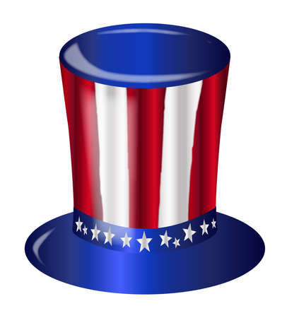 A top hat with a star spangled banner colors and stars over a white background
