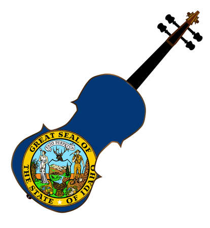 fiddles: A typical violin with Idaho state flag isolated over a white background