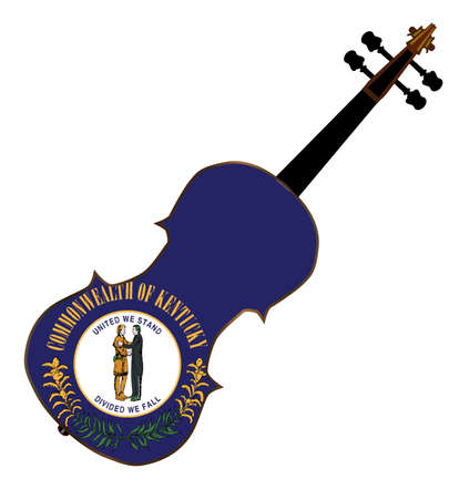 kentucky: A typical violin with Kentucky state flag isolated over a white background