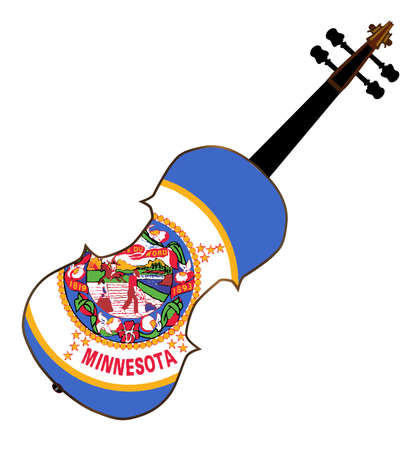 fiddles: A typical violin with Minnesota state flag isolated over a white background Illustration