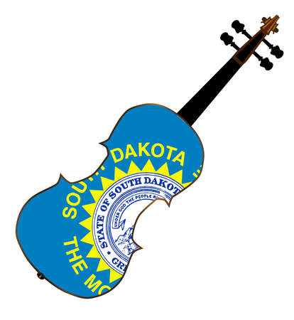 fiddles: A typical violin with South Dakota state flag isolated over a white background