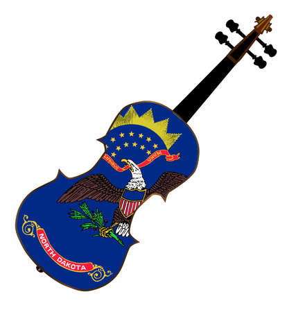A typical violin with North Dakota state flag isolated over a white background