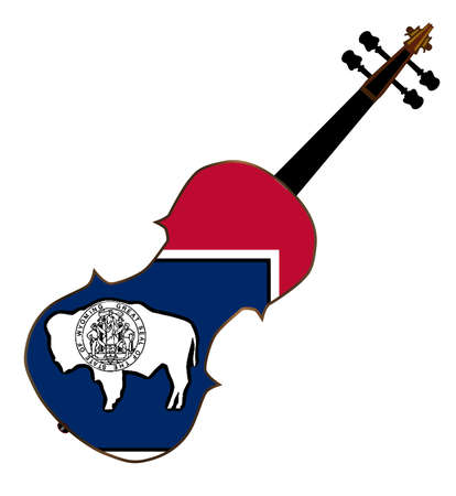 fiddles: A typical violin with Wyoming state flag isolated over a white background