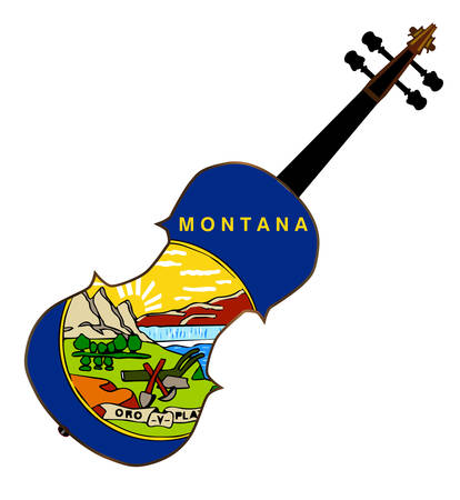 fiddles: A typical violin with Montana state flag isolated over a white background