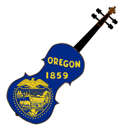 fiddles: A typical violin with Oregon state flag isolated over a white background