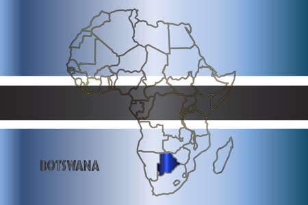 africa outline: Botswana outline inset into a map of Africa over a flag background