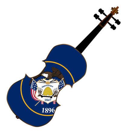 fiddles: A typical violin with Utah state flag isolated over a white background Illustration