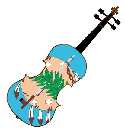 fiddles: A typical violin with Oklahoma state flag isolated over a white background Illustration