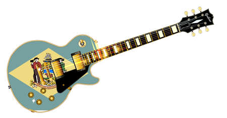 The definitive rock and roll guitar with the Delaware State flag seal flag isolated over a white background. Illustration