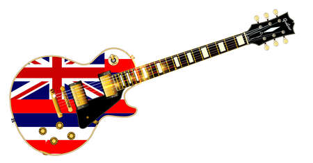 The definitive rock and roll guitar with the Hawaii State flag seal flag isolated over a white background. Illustration