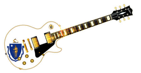 The definitive rock and roll guitar with the Massachusetts State flag seal flag isolated over a white background.