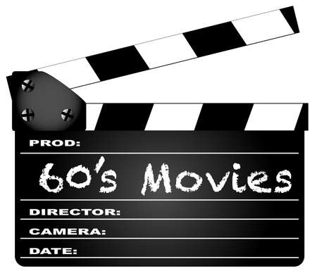 home video camera: A typical movie clapperboard with the legend 60s Movies isolated on white.