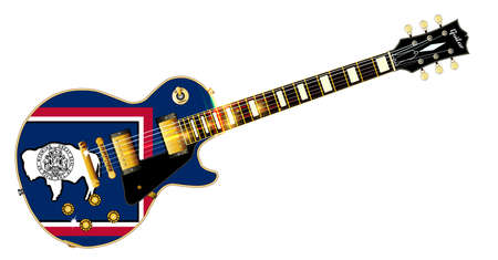 The definitive rock and roll guitar with the Wyoming State flag seal flag isolated over a white background. Illustration