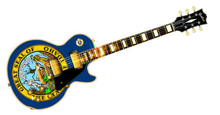 The definitive rock and roll guitar with the Idaho State flag seal flag isolated over a white background.